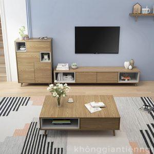 Bộ bàn trà và kệ tivi đồng bộ cho phòng khách 012CPK-PK007