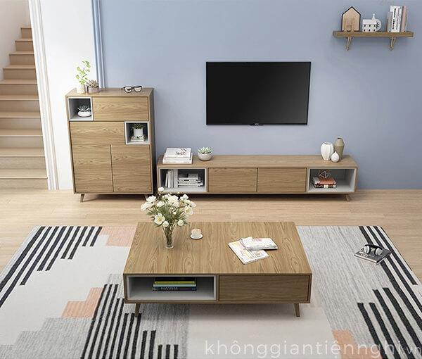 Bàn trà và kệ tivi đồng bộ cho phòng khách Vifuta 012CPK-PK007