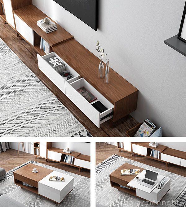 Bộ bàn trà kệ tivi đồng bộ đẹp 012CPK-PK004