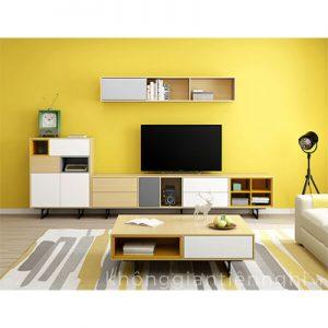Bộ bàn trà và kệ tivi bằng gỗ hiện đại 012CPK-NortaPK07
