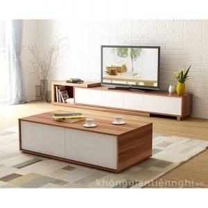 Bộ bàn trà và kệ tivi bằng gỗ công nghiệp 012CPK-PK005