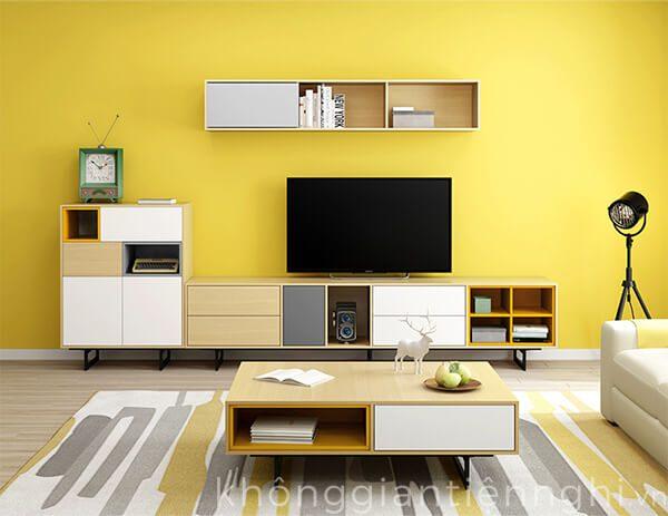 Bàn trà sofa và bộ kệ tivi màu sắc cho phòng khách đẹp 012CPK-NortaPK07