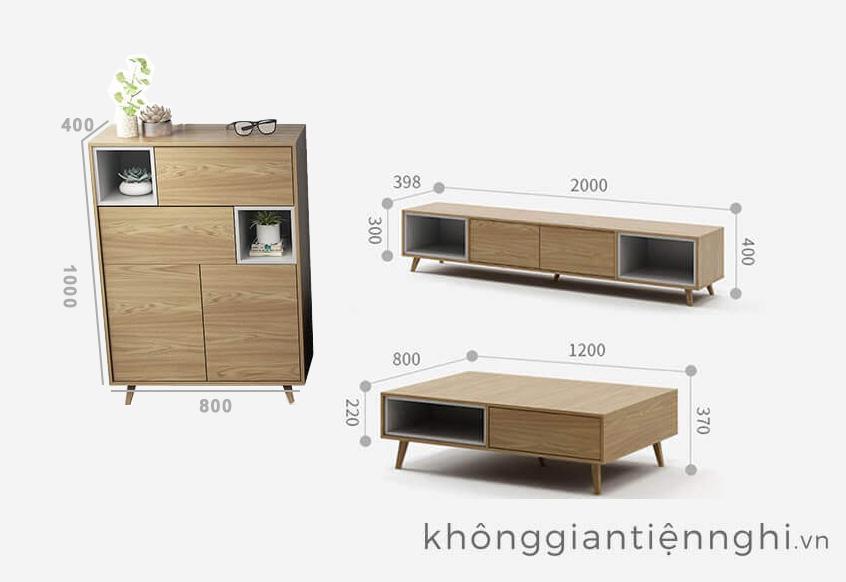 Bàn trà và kệ tivi phòng khách Vifuta-012CPK-PK007