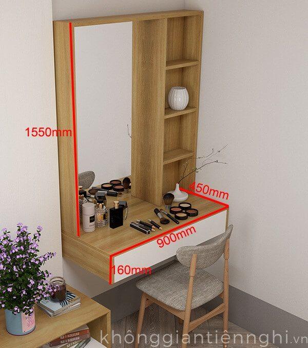 Bàn trang điểm treo tường kèm gương 012BTD468-19120
