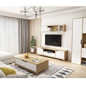 Bộ bàn trà và kệ tivi cho phòng khách chung cư 012CPK-PK006