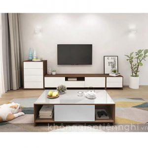Bộ bàn trà và kệ tivi cho phòng khách hiện đại CPK-VFT-PK002