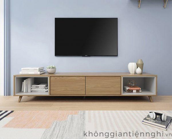 Bộ bàn trà và kệ tivi bằng gỗ Vifuta 012CPK-PK007