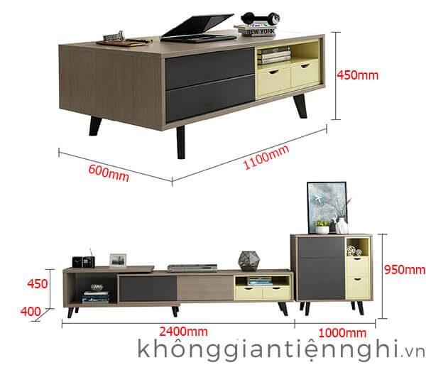 Bộ kệ tivi bàn trà phong cách Bắc Âu 012CPK-Norta-pk02