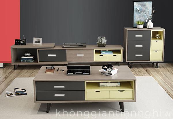 Bộ kệ tivi bàn trà phòng khách Bắc Âu hiện đại 012CPK Norta-pk02