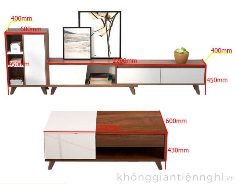 combo kệ tivi và bàn trà 012CPK-PK004