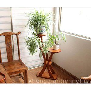 Kệ trang trí cây xanh bằng gỗ đẹp KGTN-011KTT007