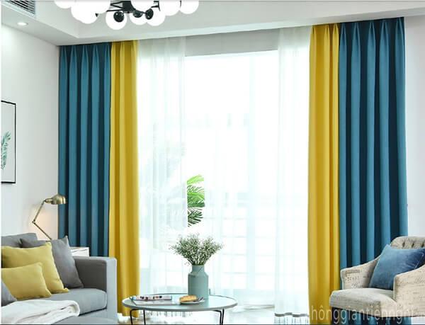 Rèm cửa bằng vải kết hợp màu sắc RC-V005