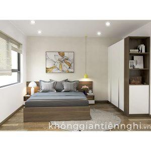 Bộ giường tủ phòng ngủ bằng gỗ Vifuta 012BPN03